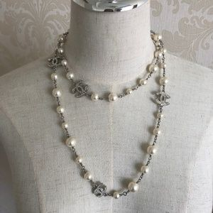 CHANEL Jewelry - Pearl Crystal CC Long Necklace Silver